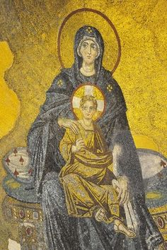 La Vierge et l'Enfant,première mosaïque de la période post-iconoclaste date de 857