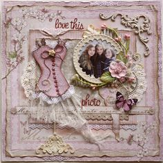 #Scrapbook page made by #Maja Design team member #Gabrielle Pollacco using the Vintage Spring Basics Collection. CLICK ON PHOTO FOR A DOWNLOADABLE TEMPLATE FOR CORSET DESIGN!