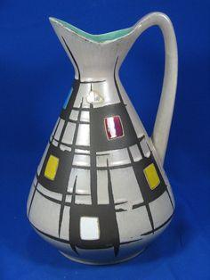 Beautiful 50´s West German pottery design Bay pottery Keramik jug vase 244 - 30 | eBay