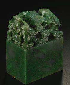 AN IMPERIAL SPINACH JADE 'XIANFU GONG' SEAL QING DYNASTY, JIAQING PERIOD