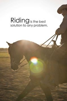 "This horse quote is so true!  ""riding is the best solution to any problem"""