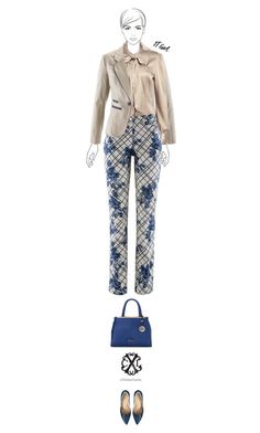 """""""Office outfit: Beige - Blue"""" by downtownblues ❤ liked on Polyvore featuring CXL by Christian Lacroix"""
