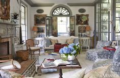 furlow gatewood - Google Search Inspiration for blue and white, whites, french and american mixed furniture and art. Love white walls with blue/grey trim.