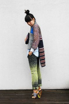 (Brocade Country Miao tribe batik robe and Mangmoom clutch worn with Monki denim shirt, Issey Miyake trousers and Peter Pilotto x Nicholas Kirkwood shoes)