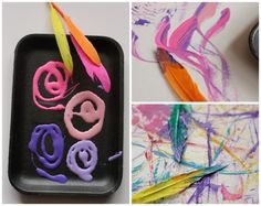 Big Art Ideas for Toddlers - painting without brushes (happy hooligans)