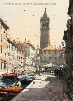 St. Barnaba, Venice - Watercolor by Joseph Zbukvic