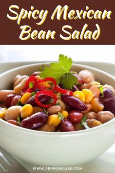 Jalapeño pepper provides a fresh bright pop while cayenne pepper powder layers a heat undertone through the entire spicy mexican bean salad side dish. This most definitely is a bean salad with attitude – which works real well with bolder meat rubs and sweet BBQ sauces. #spicyrecipes #mexicanbeansalad #beansalad #sidedish #cincodemayo #barbecuesidedish #BBQsidedish Spicy Vegetarian Recipes, Vegetarian Appetizers, Mexican Food Recipes, Barbecue Side Dishes, Steak Side Dishes, Mexican Bean Salad, Meat Rubs, Bbq Sauces, Pepper Powder