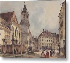 The Main Square in Bratislava by Rudolf von Alt, 1843 Bratislava, Rudolf Von Alt, Muse Art, Northern Italy, The World's Greatest, Old Pictures, Italy Travel, Great Artists, Barcelona Cathedral