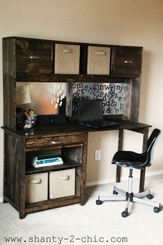 Pottery Barn Inspired Student Desk (I Love a good knock-off!), via @Shanty 2 Chic