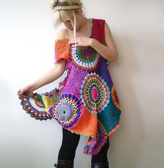 Crochet Retro Dress/Tunic by subrosa123 on Etsy, €167.00-Insiration (smaller shapes, scale down-a.e.)