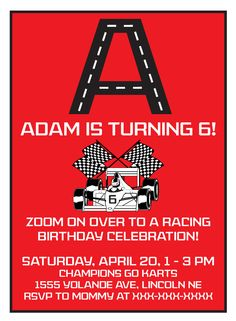 Race Car Birthday Invitations, Cupcake Toppers and Banner. $10.00, via Etsy.