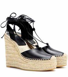 Leather espadrille wedge sandals | Saint Laurent