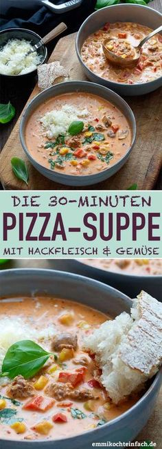 Fast Pizza Soup Climber Type - www. - - Schnelle Pizzasuppe Bergsteiger Art – www.emmikochteinf… Fast Pizza Soup Climber Style – www. Pizza Rapida, Pizza Facil, Quick Pizza, Vegetarian Recipes, Healthy Recipes, Vegetarian Dish, Easy Meals, Food And Drink, Lunch