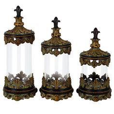 Casa Cortes Antiqued Gold Fleur De Lis 3 Piece Glass Cylinder Canister Set  · Glass CanistersHome Decor AccessoriesDecorative ...