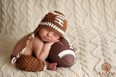 e828449efa4 Baby Boy Hat FOOTBALL Newborn Baby Boy Crochet Football Hat With Ear Flaps  and pants Pant
