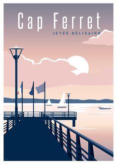 Retro vintage art artworks ideas for 2019 Travel Illustration, Photo Illustration, Illustrations, Poster City, Summer Poster, Cap Ferret, Railway Posters, Fantasy Landscape, Vintage Travel Posters