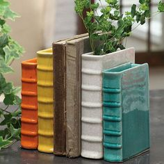 Book Vase Bookends. | If You're A Book Worm, You're Going To Love These 32 DIY Home Projects.