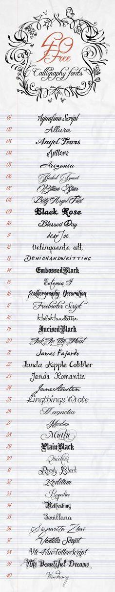 A arte da caligrafia - 40 Fontes Grátis para Escrita Criatia Billy Angel & Freebuffer