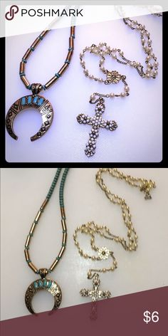 Super cute BoHo statement necklace bundle Great necklace bundle not sure where I pick these up from. The cross and pearl necklace are long layering necklace almost rosary style necklace the crescent moon squash blossom necklace is very western Brandy Melville Jewelry Necklaces