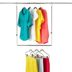 You probably have a rod that hangs off the ground, which is great if you only wear maxi dresses and ball gowns. If you have a rod that is or higher try: Dublet Adjustable Closet Rod Expander by Umbra® Great for kids' closets