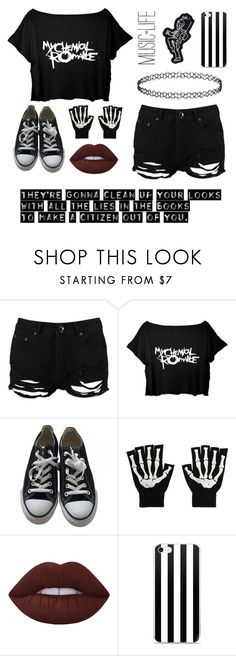 """•Teenagers~MCR•"" by theemowithin ❤ liked on Polyvore featuring Boohoo, Converse, Lime Crime, music, emo, mcr and mychemicalromance"