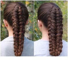 or? Before and after I pancaked the twisted edge fishtail braid #flette #langthår #pancaked #instabraid #long_hair #braidphotos #hairsandstyles #braidsforgirls #fiskebensflette #fishtailbraid