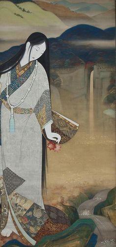 Princess Fuse. ink, color, and gold on silk (diptych). 1927, Japan, by artist Kobayakawa Kiyoshi