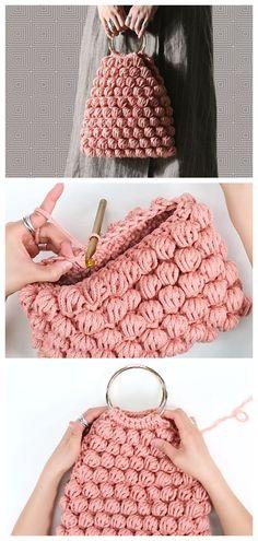 Mochila Crochet, Crochet Tote, Crochet Handbags, Crochet Purses, Love Crochet, Knit Crochet, Puff Stitch Crochet, Bobble Stitch, Crochet Carpet