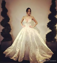 2017 Sexy Stunnin Gothic Lace Appliques Ball Gown Wedding Dresses Spaghetti V Neck Backless Beaded Floor Length Bride Gowns Custom Made Gowns For Wedding In Wedding Dress From Yaostore, $168.85| Dhgate.Com