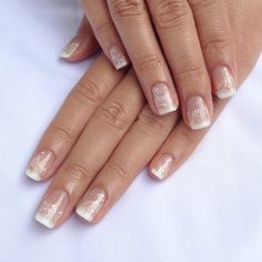 Add some flair to French nails! Bridal Nails Designs, Bridal Nail Art, Cute Nail Designs, Lace Wedding Nails, Lace Nails, French Acrylic Nails, French Nails, Nail Jewels, Nail Art Pictures