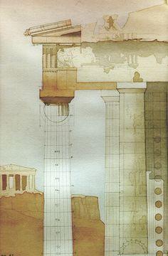 The Parthenon Analytique - watercolor on pencil #TBDC