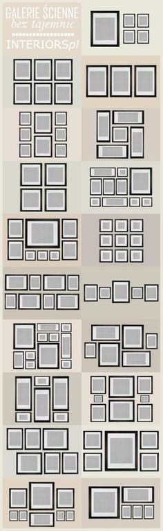 """Great ideas for picture frame """"groupings""""... this will help you to space out the family photos behind the sofa"""