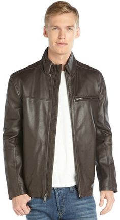 $168, Dark Brown Leather Bomber Jacket: Marc New York Java Brown Leather Stand Collar Zip Front Filled Jacket. Sold by Bluefly. Click for more info: https://lookastic.com/men/shop_items/326682/redirect