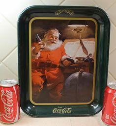 Coca Cola Tray, Santa Serving Tray, Coke Advertisment 1983. $17.00, via Etsy.