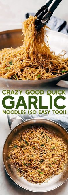 Crazy Good Quick Garlic Noodles – a quick 15 minute recipe for garlic noodles! T… Crazy Good Quick Garlic Noodles – a quick 15 minute recipe for garlic noodles! These noodles are a fusion recipe and have the BEST flavor! Healthy Recipes, Asian Recipes, Quick Pasta Recipes, Garlic Recipes, Cheap Recipes, Quick Dinner Recipes, Best Food Recipes, Quick Food Ideas, Easy Noodle Recipes