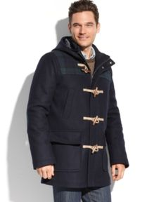$189, Navy Duffle Coat: Tommy Hilfiger Coats Melton Wool Hooded Plaid Patch Toggle Coat. Sold by Macy's. Click for more info: https://lookastic.com/men/shop_items/82439/redirect