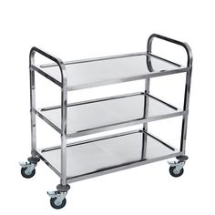 ZNL Kitchen Serving Storage Trolley Stainless Steel, Catering Cleaning Trolley Cart 3 Tier On Wheels Storage Trolley, Trolley Cart, Green Subway Tile, Serving Trolley, Cafe Interior, Interior Ideas, Small Space Storage, Wood Counter, Catering Services