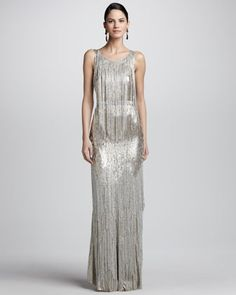 Bead-Fringe Sleeveless Column Gown by Oscar de la Renta at Neiman Marcus.