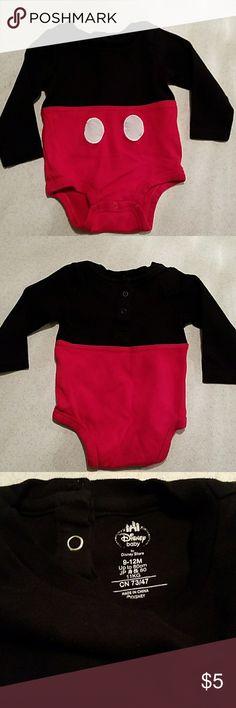 Disney Micket Onsie Disney Mickey Onsie , Size 9 / 12 M , Red & Black Disney One Pieces Bodysuits