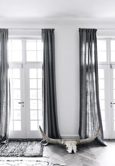 Floor Length curtains in linen | HERE COMES THE MAIN DOOR OF THE HOUSE'S CONSTRUCTION IN 1920