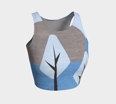 Simple blue design athletic crop top, women's top, blue and brown, crop top print, printed top