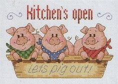 Cross-stitch Kitchen's Open - Let's pig out!, part 1 ...    Cross stitch *♥* Point de croix  Kreuzstich