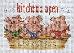 Cross-stitch Kitchen's Open - Let's pig out!, part 1 ... Cross stitch *♥* Point de croix Kreuzstich