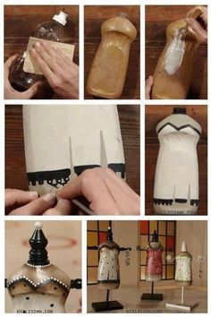 Turning a dish soap bottle into a small jewelry mannequin. Can't find the original source, most of the websites with this image aren't in english, sorry! But this is brilliant and so doable
