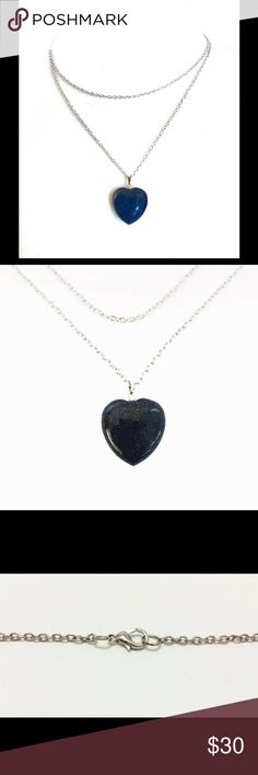 Blue Sandstone Heart Necklace Orders are Made & Shipped in 1-2 business days  A gorgeous blue sandstone heart necklace.  The pictures don't do justice for the blue sandstone - it has a gorgeous sparkle that's hard to capture in pictures but absolutely stunning in person.  The Blue Sandstone resembles the stars shining in the deep blue sky which bring courage, confidence and willpower and boost vitality and energy.  Comes on a beautifully designed double silver chain with a matching lobster…