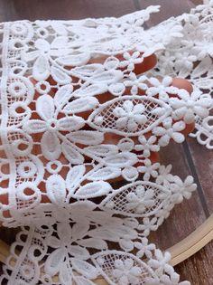 Raschel Organza Satin Ribbon Lace Trim Sew on craft trimming 1yd Lace Trimming