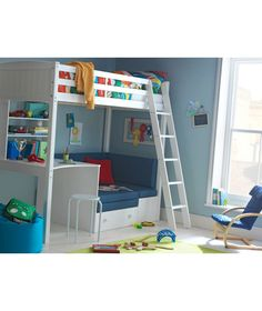 Buy Classic High Sleeper Bed with Blue Sofa Bed - White Wash at Argos.co.uk - Your Online Shop for Children's beds, Children's beds.