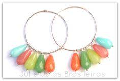 Brincos argola em prata 950 e jade (950 silver hoop earrings with jade)