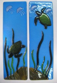 Sea Turtle Fused Glass Wall Panels