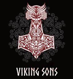 Thorhammer mit Odin und Fenriswolfskopf